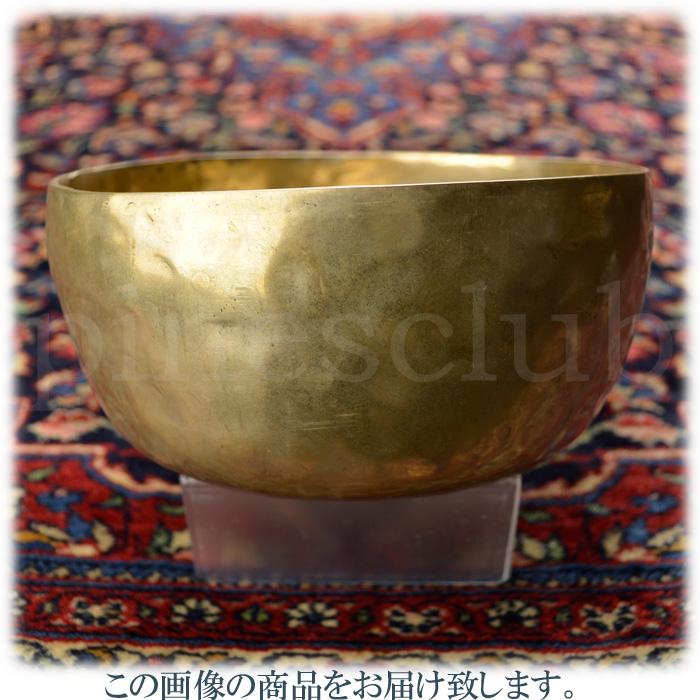 ヴィンテージ シンギングボウル 直径約17.5cm 重量約922g 真鍮叩き出しの素朴なデザイン 木製スティック付 MSB-008