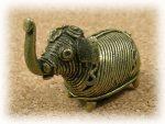 インド先住民族ドクラの鋳造工芸品 ミニ動物 ゾウ MTB-1011