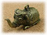 インド先住民族ドクラの鋳造工芸品 ミニ動物 ゾウ MTB-1015