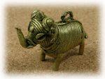 インド先住民族ドクラの鋳造工芸品 ミニ動物 ゾウ MTB-1018