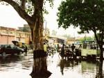 インド、スコールで水没する町