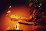 インド、夜のガンジス河