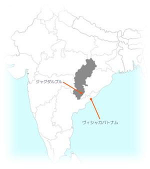インド・チャッティースガル州ジャグダルプルの位置