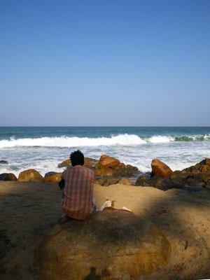 インド・犬と海を見つめる男