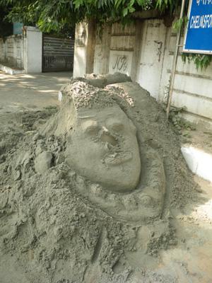 インド、砂の芸術作品