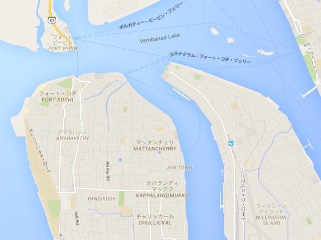 フォートコーチンとマッタンチェリーの地図