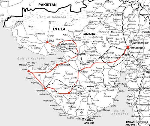 インド、グジャラート州の地図