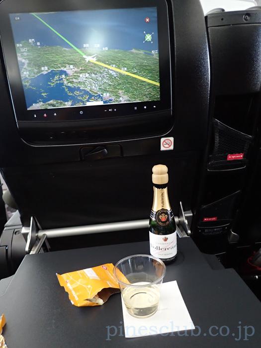 日本航空デリー便、プレミアム・エコノミーのドリンクサービス