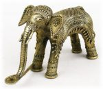 インド先住民族ドクラの鋳造工芸品 象の燭台 MTB-2071