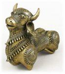 インド先住民族ドクラの鋳造工芸品 聖牛ナンディーの置物 MTB-2072
