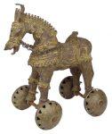 インド先住民族ドクラの鋳造工芸品 大きな馬の置物 MTB-2074