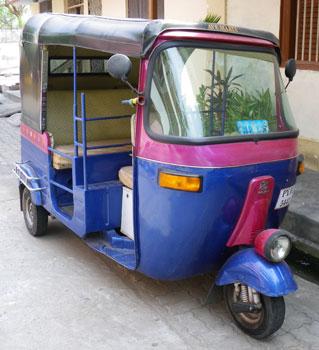 インド・おしゃれな色合いの自家用オートリキシャ
