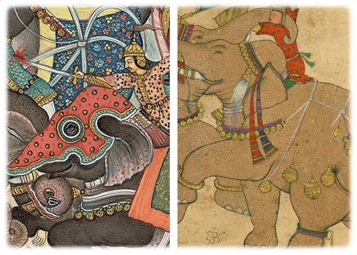 インドの象の鈴も描かれている古い絵画