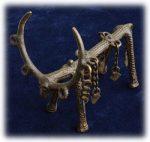 インド先住民族ドクラの鋳造工芸品 アンティーク 飾りの付いた牡鹿 MTB-9008